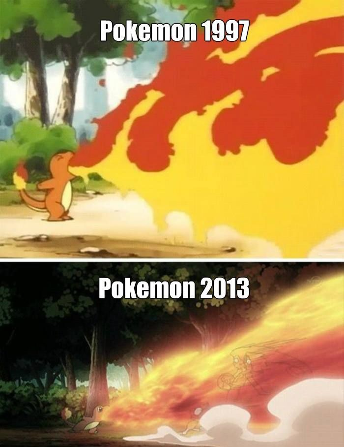 So a couple of months ago The Pokemon Anime made a modern version of the olden days shots.Back then It looked like Charmander was eating fire.Now It looks legit. :D