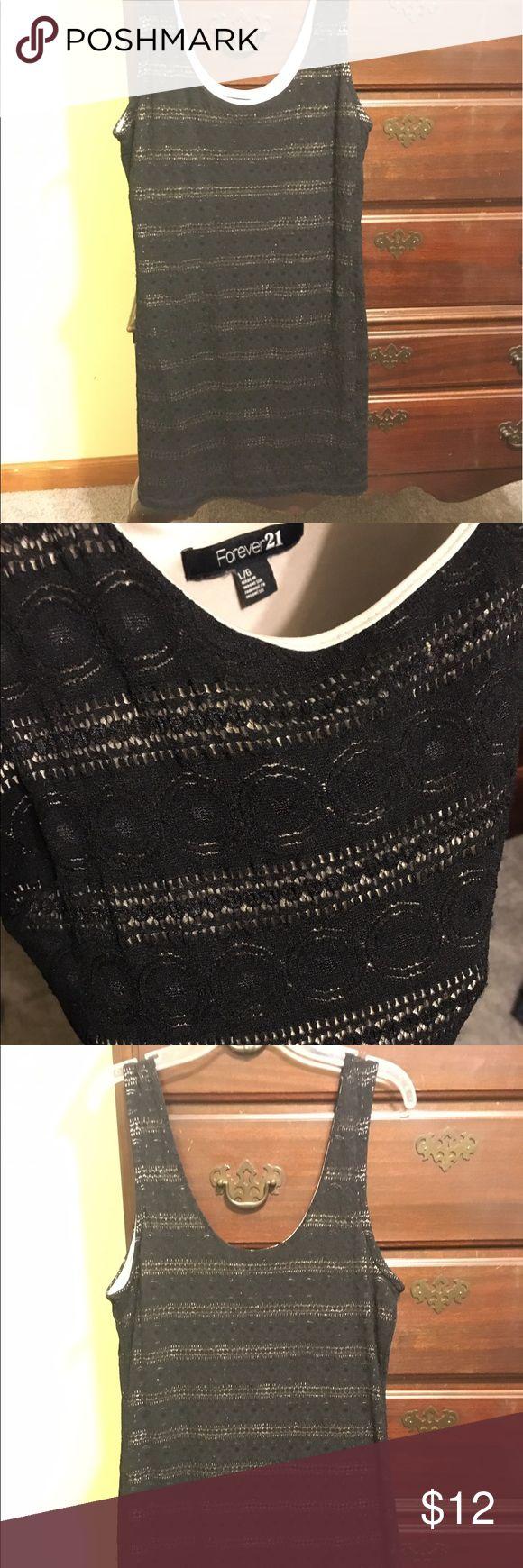 Black lace dress Black lace dress over a tan slip Forever 21 Dresses Mini