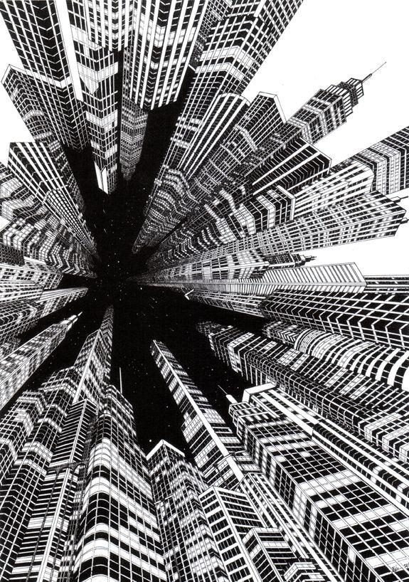 Finos trabajos de perspectiva del IlustradorJosh Raymond. Captura ciudades en movimiento enángulosfuera de locomún. Josh Raymond