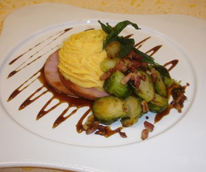 Maple Glazed Ham with Root Vegetable Puree & Brussel Sprouts Recipe