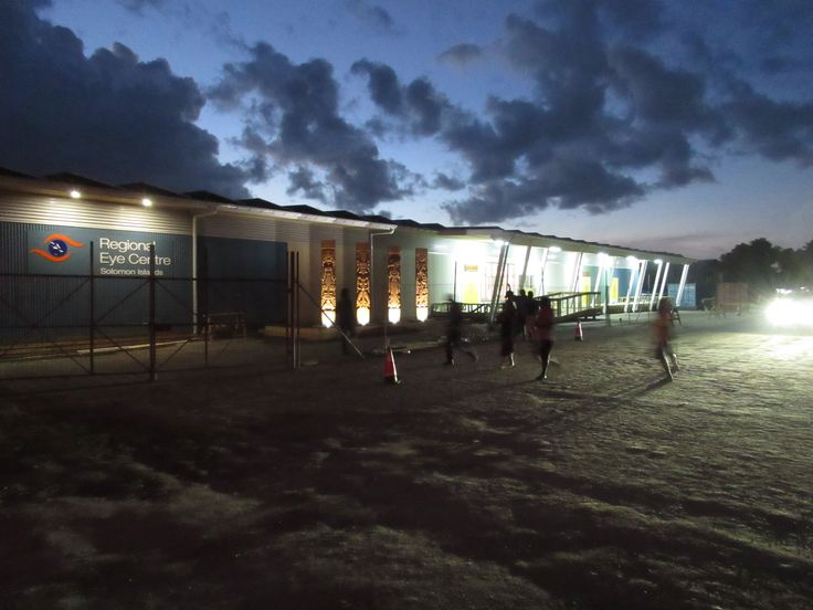 A night shot of the recently completed Fred Hollows Foundation eyecare centre in Honiara.