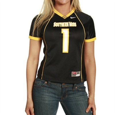 Southern Miss Golden Eagles #1 Ladies Black Replica Football Jersey