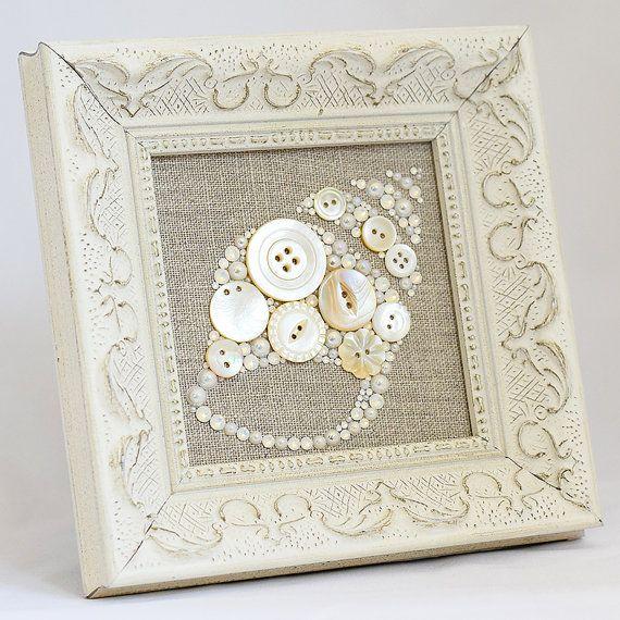 Framed Button Art  Seashell  Handmade by PaintedWithButtons