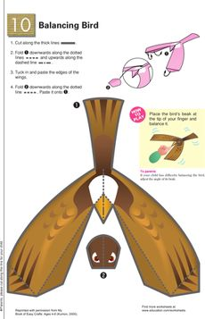 Balancing Bird Worksheet - bird balances on your finger (could alter to make a Bald Eagle)