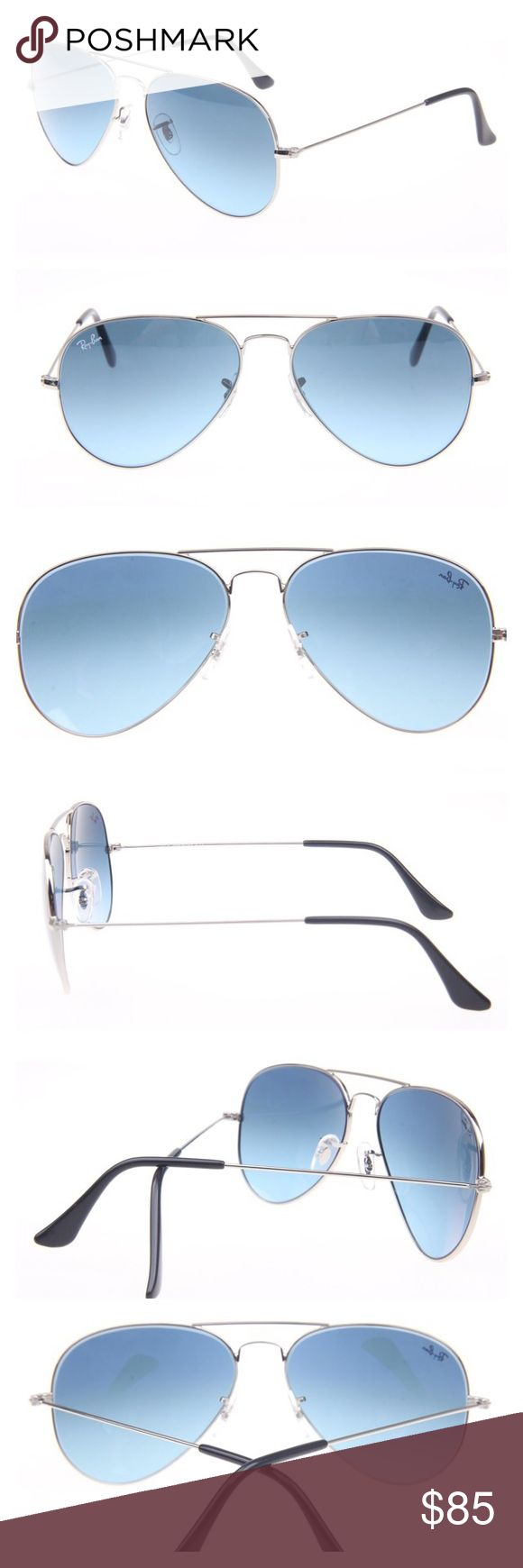 Ray-Ban Aviator Sunglasses Gold Blue Gradient Lens One of the most popular sunglasses in the Ray-Ban Aviator's line. Gold frame and blue gradient lenses, model RB3025 001/3F, size 58-14. Made in Italy, original, authentic, come with original brown leather case and cloth Ray-Ban Accessories Sunglasses