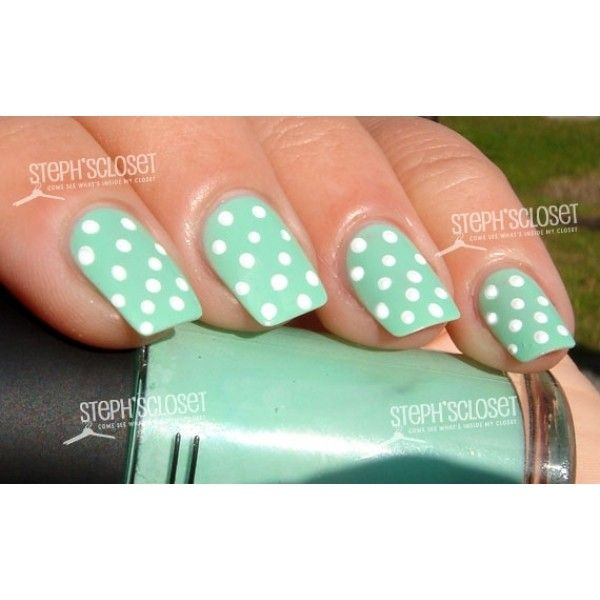 Mint Green Nail Polish for the Holidays ❤ liked on Polyvore