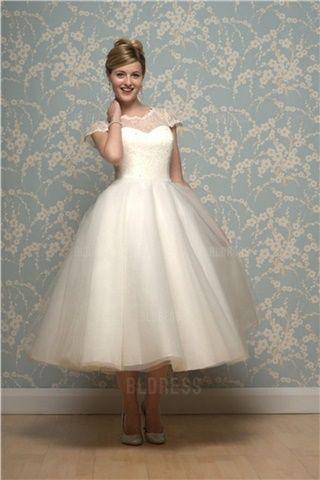 Duchesse-Linie Juwel-Ausschnitt Wadenlang Tülle Brautkleider
