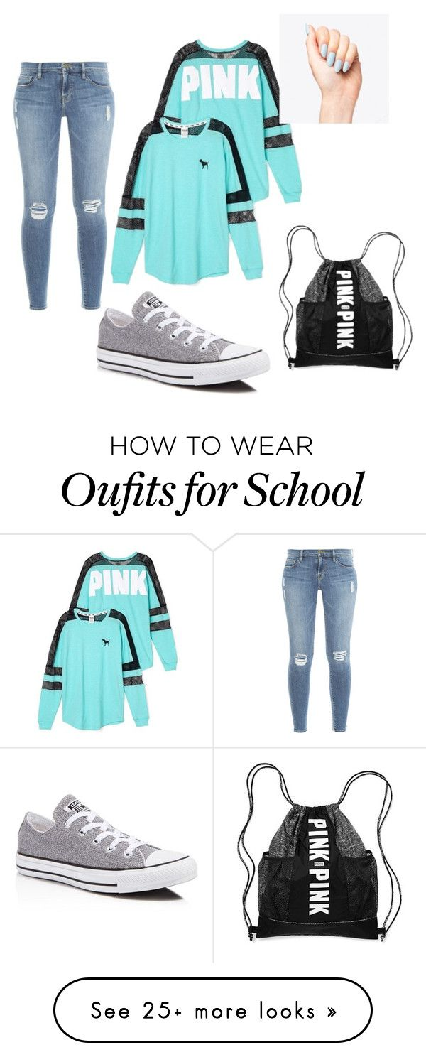 """School days"" by veliadogsonly on Polyvore featuring Victoria's Secret, Frame Denim and Converse"