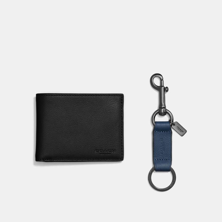 Coach Boxed Slim Billfold Id Wallet With Trigger Snap Key Fob