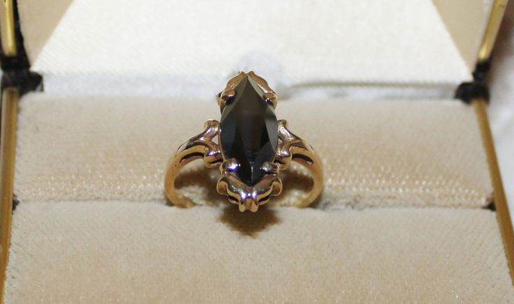 Gorgeous 10K Solid Gold Black alaskan Diamond Ring approx. Size 8-1/2 Black Marquise Cut Hemitite Faceted Stone Scrolled Setting by TouchofClassic on Etsy