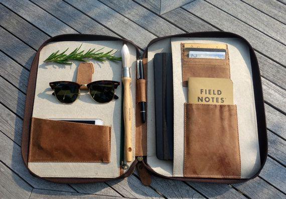 LEATHER TRAVEL WALLET (large) iPad Air folio passport holder document organiser organizer portfolio cover real genuine