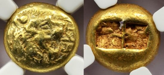 Ancient Coins - ALYATTES OR WALWET ELECTRUM EL TRITE WITH SCARCE INSCRIBED NAME - CHOICE VF STAR NGC GRADED GREEK LYDIAN KINGDOM COIN (Inv. 7117)