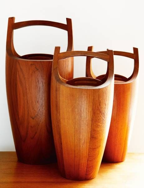 Danish Teak Ice Buckets by Jens Quistgaard for Dansk (1960) - Could be reprised as dry ingredient storage.