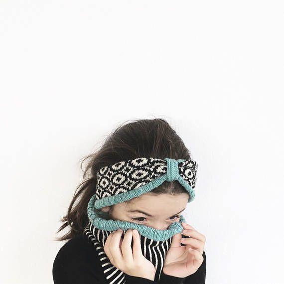 Fair isle knitted headband, wool knit turban, kid's knitted headband, kid's knitted turban