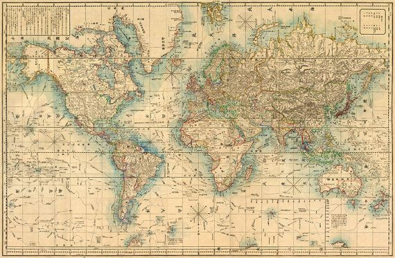 World map printable digital download 1922 Vintage World Map Old - new world time map screensaver free download