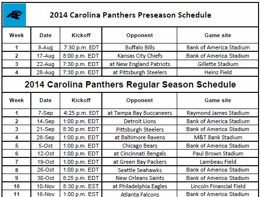 Panthers Football Schedule 2014-2015 | Print 2014 Carolina Panthers NFL Schedule
