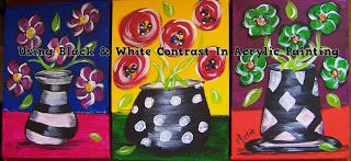 A Pretty Talent Blog: Painting An Acrylic Trio Using Black & White Contrast