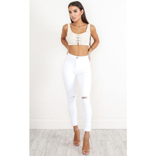 White High Waisted Ripped Knee Skinny Jeans ($70) ❤ liked on Polyvore featuring jeans, white high waisted jeans, high-waisted jeans, white destroyed skinny jeans, ripped skinny jeans and white distressed skinny jeans