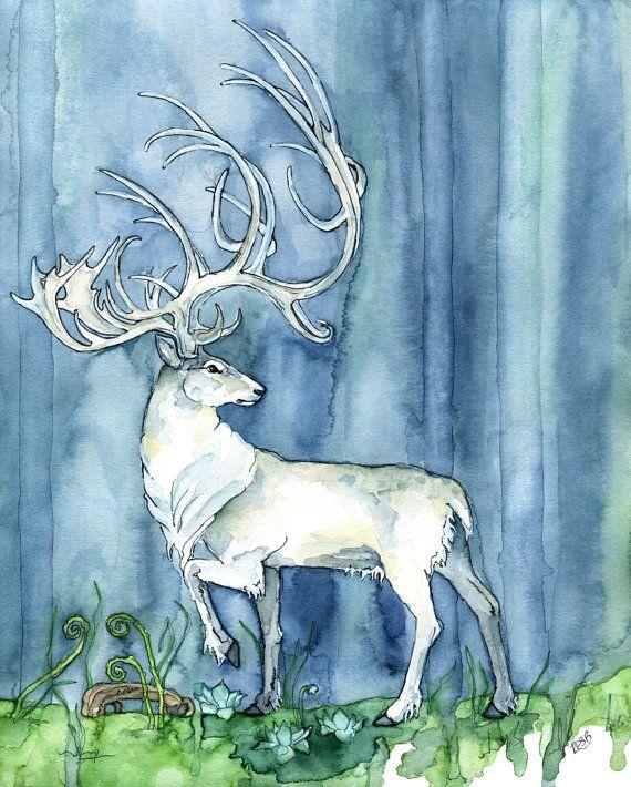 """Weißer Hirsch Aquarell - Druck mit dem Titel, """"Hart of the Forest"""", Elch, Hirsch Malerei, Aquarell, Patronus, Weißer Hirsch, Fantasy Art"""
