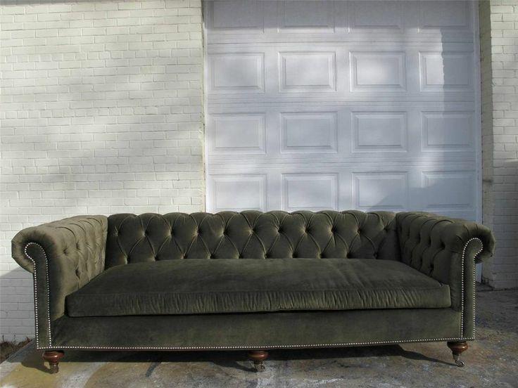 Ralph Lauren Tufted Chesterfield Sofa Luxury Green