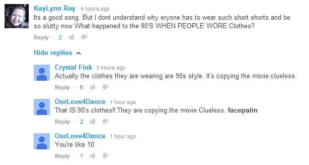 That kid was talking about the fancy music video! Can't believe they have never seen Clueless!