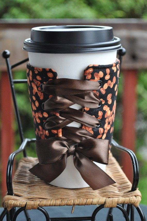 I LOVE this!! I drink a lot of coffee /tea and this would be perfect. I like how it ties, very cute, and one size will now fit all sized cups. Awesome idea.