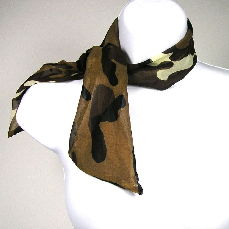 Camouflage Silk Head Scarf Camo Silk Hair Scarf Camouflage Neck Scarf Military Scarf Military Scarf Purse Scarf Camo Scarf Skinny Scarf by LooptheLoop on Etsy...neck scarves so popular now