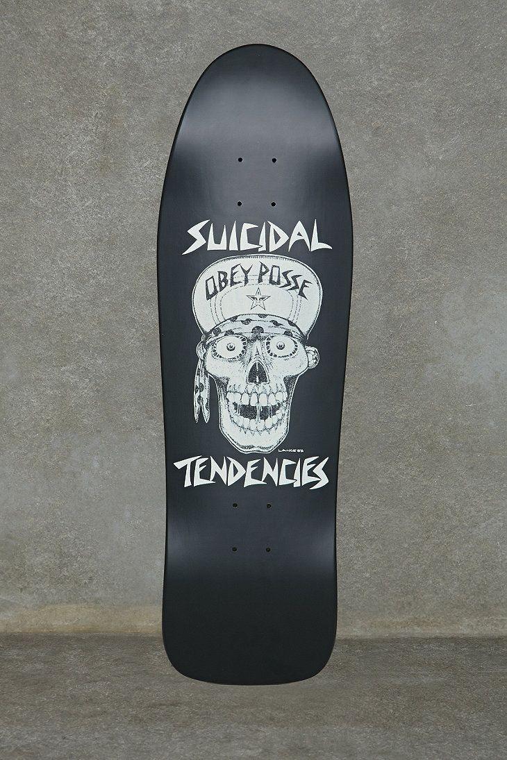 """Obey x Suicidal Tendencies 9.5"""" Flip Cap Skateboard Deck in Black"""