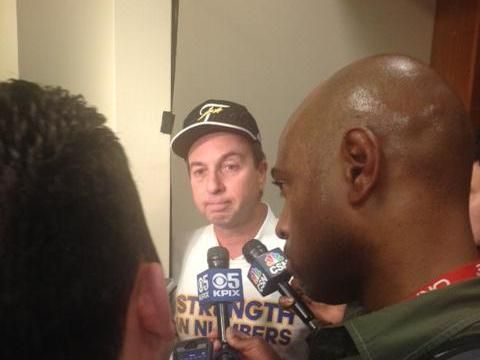 May 27, 2015 -- Golden State Warriors owner Joe Lacob, after the team won the NBA Western Conference title Wednesday night by defeating the Houston Rockets, 104-90. It is the franchise's first trip to the NBA finals in 40 years.