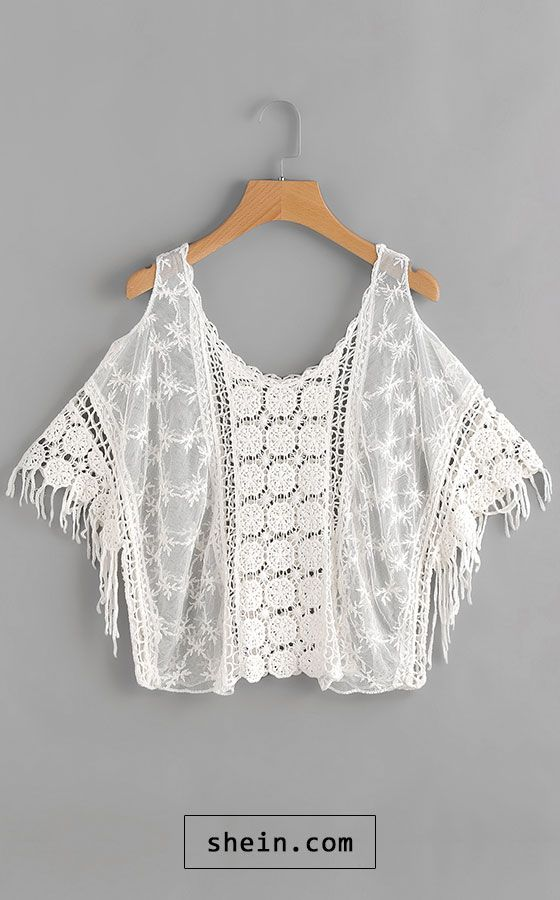 Open Shoulder Hollow Out Crochet Top