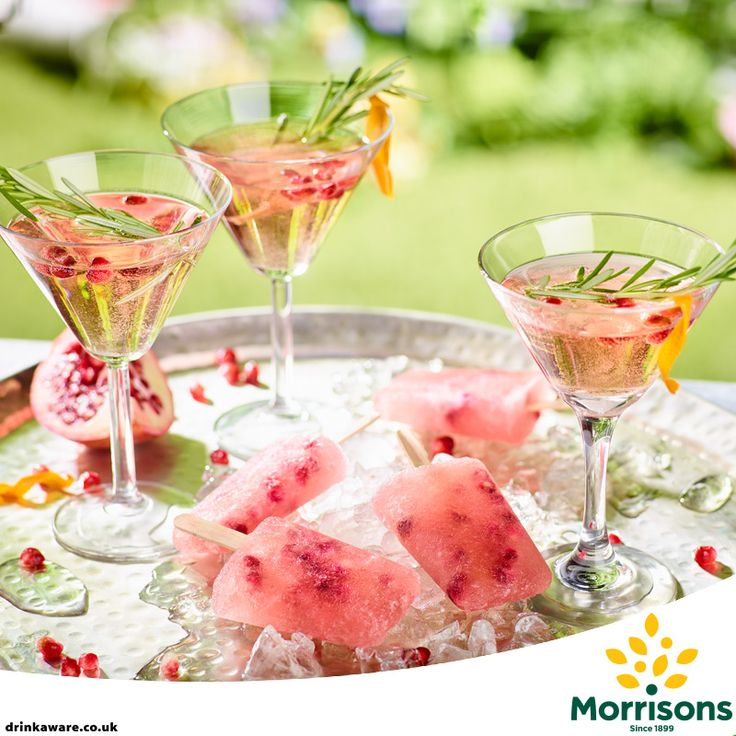 Chill out and enjoy the sunshine with our our summer recipe for Pomegranate Bellini Cocktails or Ice-pops if you prefer :) #Summer