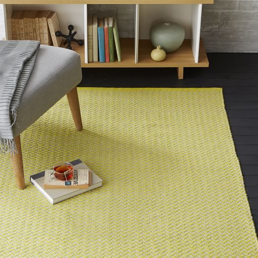 Skinny Mini Chevron Jute Rug - Sun Yellow | West Elm