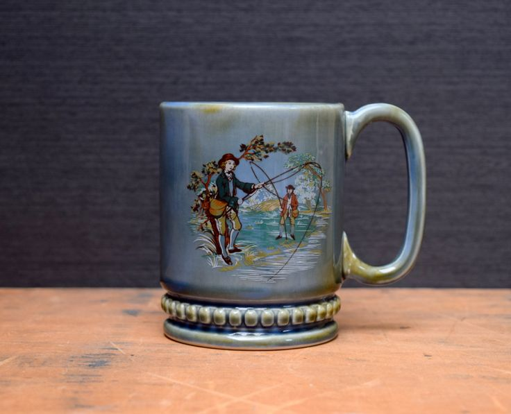 Wade Irish Porcelain Coffee Mug, Fly Fishing Gentlemen, Blue Grey Coffee Cup, Made in Ireland by TheRecycleista on Etsy
