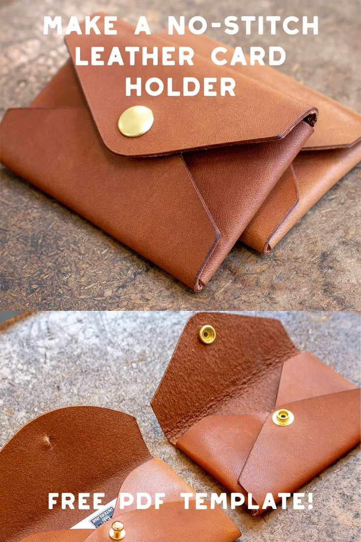 Make A No Stitch Leather Card Holder Free Pdf Template Set Makesupply Diy Leather Projects Diy Leather Wallet Leather Diy Crafts