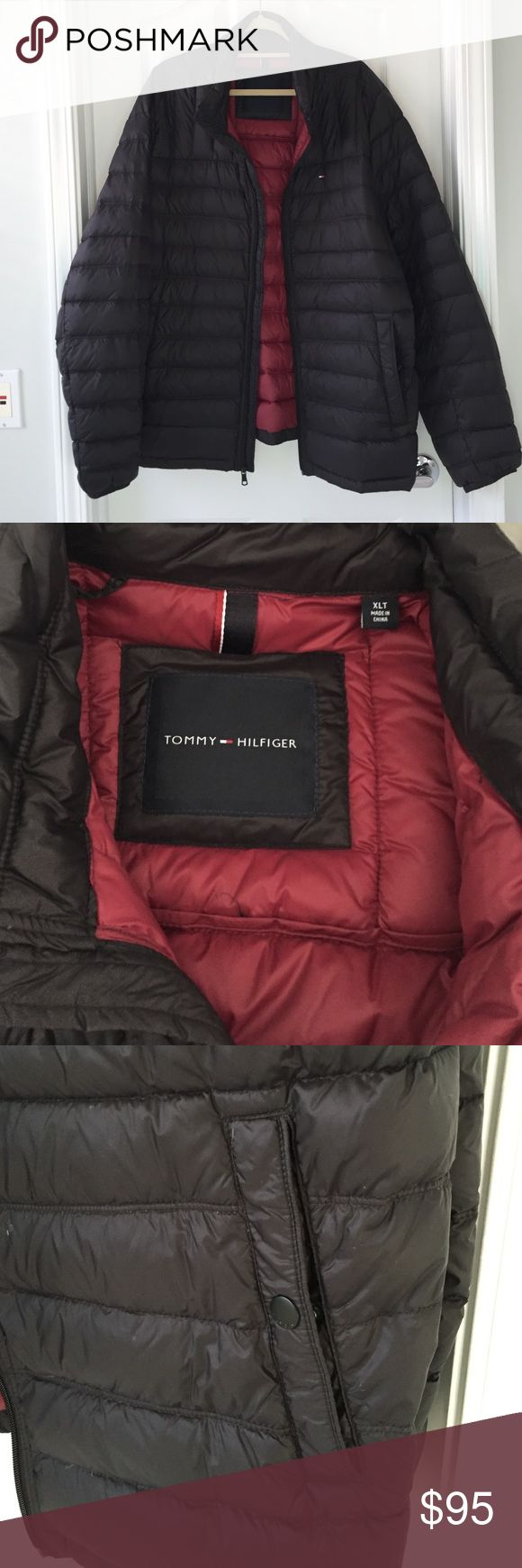 "NWOT men's Tommy Hilfiger packable down jacket Black packable down jacket by Tommy Hilfiger with dark red lining. Storage bag included. Garment measurements (approximate): sleeve length 28"", shoulder seam to shoulder seam 18"", chest 26.5"" across, overall length 30"".  Excellent condition, never worn. Tommy Hilfiger Jackets & Coats Puffers"