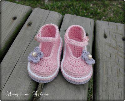 Pembe Bebek Ayakkabıları-Tığ işi Bebek Ayakkabısı