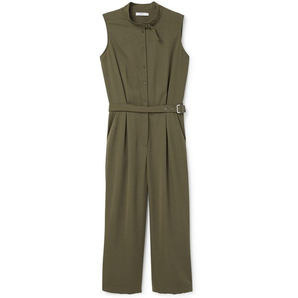 MANGO Belt Long Jumpsuit ($50) ❤ liked on Polyvore featuring jumpsuits, jump suit, mango jumpsuit, long jumpsuits and brown jumpsuit