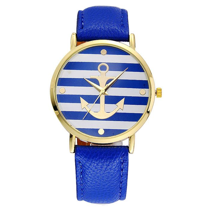New design 5 Colors New Arrival Fashion PU Leather strap Anchor Watches Women