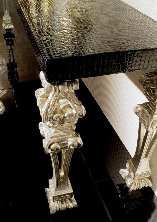 EMBOSSED LEATHER AND SILVER CONSOLE TABLE ART 10350 - Detail image of console table a10350 with embossed high gloss leather top and silver g...