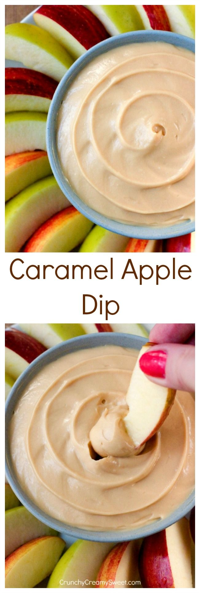 Caramel Apple Dip - this 2-ingredient dip will quickly become your guilty pleasure. It's easy and addicting! Whip it up in just minutes and enjoy with apple slices!