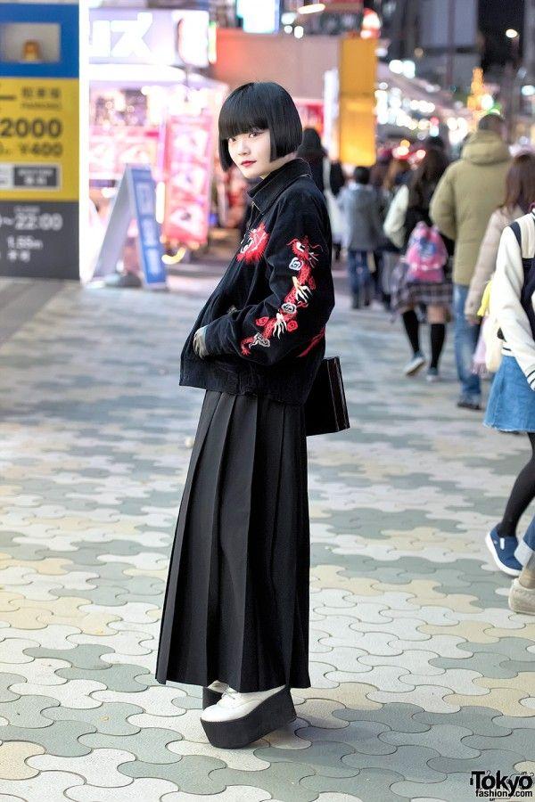 Tailor Toyo x Comme Des Garconsm, Tailor Toyo Tiger Sukajan, Black Bob & Comme Des Garcons Skirt in Harajuku