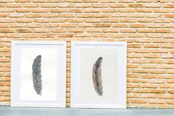 Original watercolor and graphite pencil drawings of my ''Feathers''