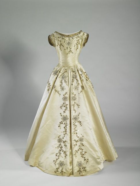 Dress designed by Norman Hartnell, worn by the Maids of Honor at the coronation of Queen Elizabeth II, June 2, 1953.