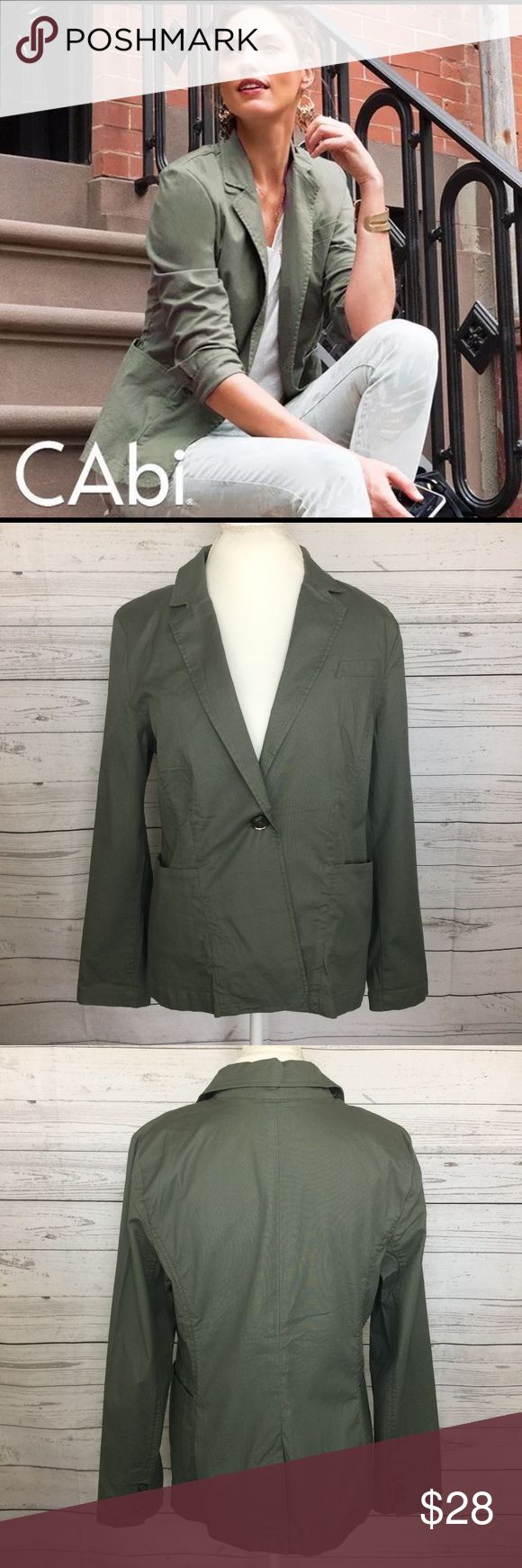 Cabi Women's Olive Green Blazer Military Style L CAbi Olive Green Blazer Jacket style 207 Fall Military Style Coat One Button GUC  Condition - Gently Used  No Stains  No Rips  No Holes  No fading  Please see all photos prior to purchasing  Details - Style/Model/Type: Womens Blazer Jacket Occasion: Casual, Fall US Size: Large Neck Line: Single Button Color: Olive Green Pattern: Solid Materials: 97%cotton 3% spandex  Wash Instructions: See Photos Pockets: 2 Front Pockets  Measurements…