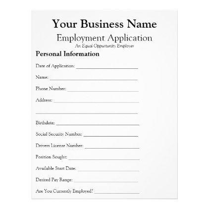 general employee job application form business flyer in 2018