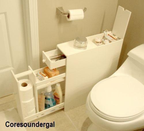 Bathroom Floor Cabinet Slim Compact Storage Space Organizer Supplies Narrow