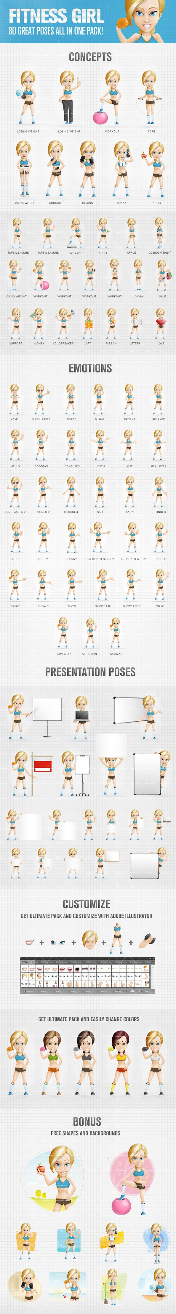 Fitness girl cartoon character presented in 80 different postures and emotions - performing physical activities, losing weight and doing workouts in various