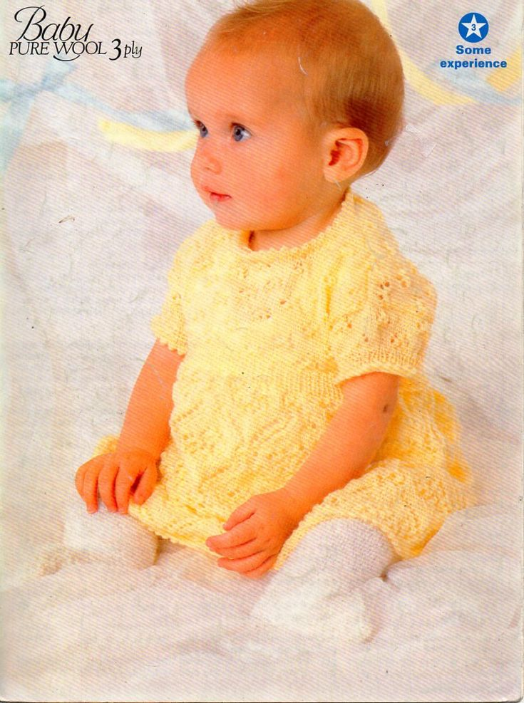 "baby knitting pattern pdf baby girls dress short sleeve lacy dress baby dress girls dress 14-20"" 3ply light fingering pdf Instant Download by Minihobo on Etsy"