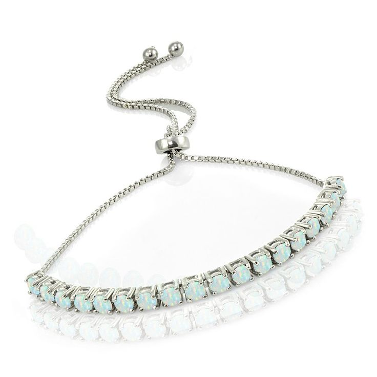 Sterling Silver Simulated White Opal Tennis Style Adjustable Pull-string Bolo Bracelet. Simulated Opal Gemstones, Tennis Style. Adjustable Bolo Bracelet, Adjusts up to 10 Inches. Tanish Free & Nickle Free. Free 2 Day Shipping with Amazon Prime, Comes Packaged in a Jewelry Pouch. Lovve Offers a Beautiful Collection of Gemstone, Fine, Fashion & Travel Jewelry.
