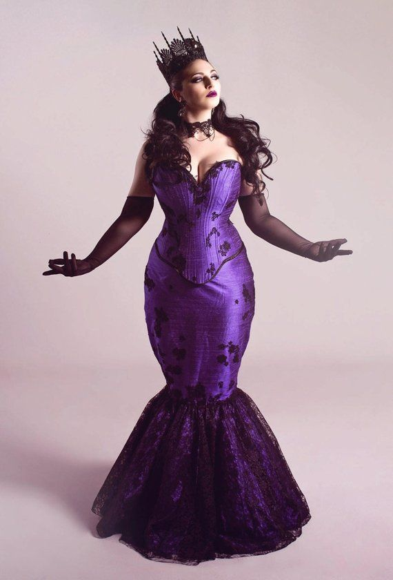 Gothic Purple Wedding Dress Fit And Flare Mermaid Masquerade